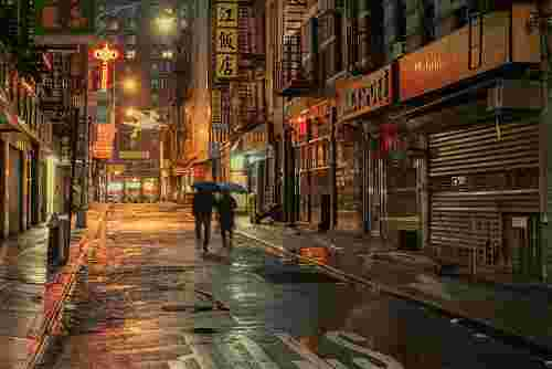 "Ludwig Favre ""Chinatown, New York, Rainy Day."""